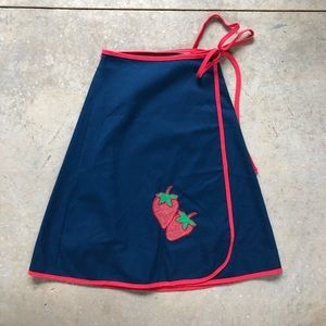 Vintage Strawberry 70s Wrap Skirt Navy Blue Red S